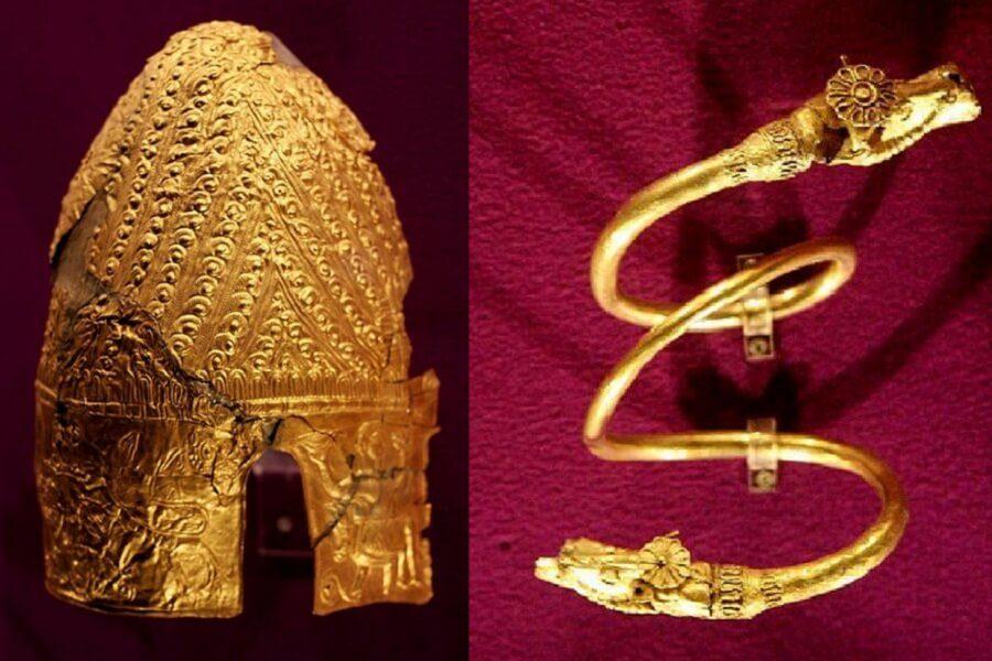 """Coif Getic sec. V î.Hr. (Băiceni-Cucuteni) coiful """"cu pene"""" Brățară Getică sec. IV î.Hr. (Cucuteni)"""